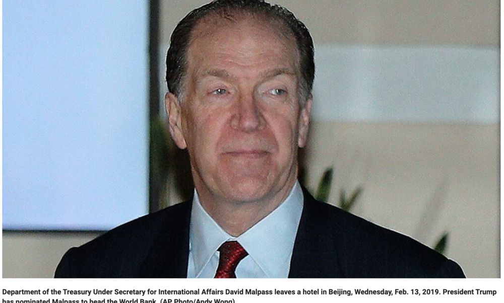 David Malpass as World Bank chief should please Democrats AND Republicans (but not China)
